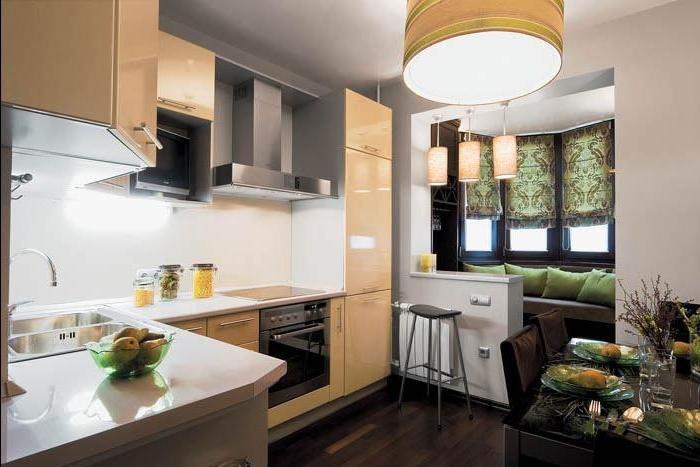 дизайн квартир фото совмещение кухни и балкона #14