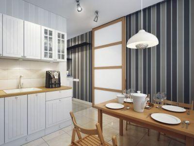 полосатые обои для кухни фото интерьер