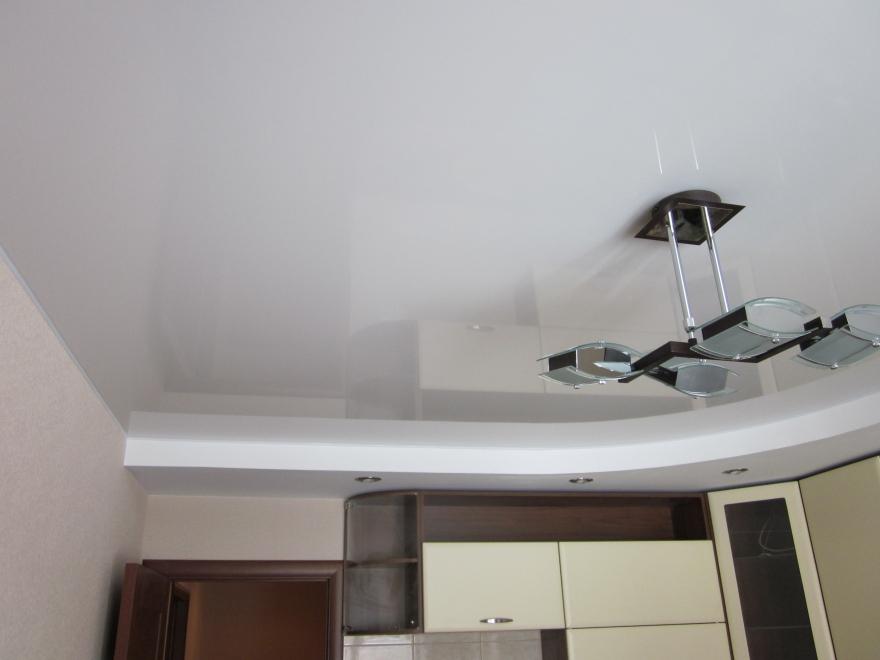двухуровневые натяжные потолки на кухню фото дизайн 2016