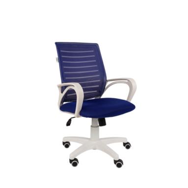 Кресло РК16 белый пластик, спинкаTW синий/сиденье TW синий