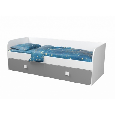Кровать Юниор-2 (6.1) серебро+белый