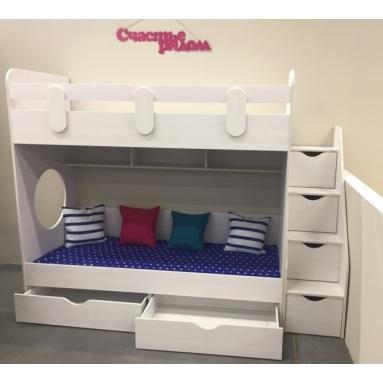Кровать Юниор (рамух белый) правая/левая