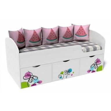 Кровать Малыш-Цветы (рамух белый+фотопечать)