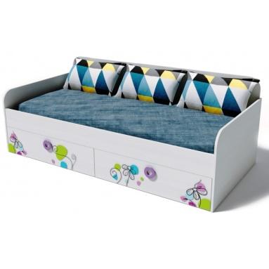 Кровать Цветы-6 (рамух белый+фотопечать)