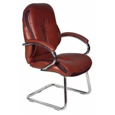 Кресло Бюрократ T-9930AV/Brown низкая спинка коричневый кожа (полозья)