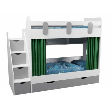 Кровать 2-х ярусная Юниор (серебро+белый)