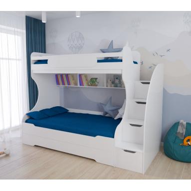 Кровать 2-х ярусная БИГ (цвет: белый) правая/левая
