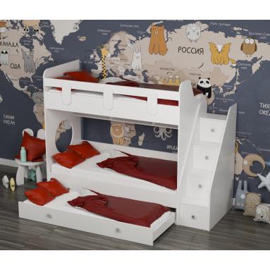 Кровать Юниор-3 (цвет белый) правая/левая
