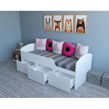 Кровать Малыш (цвет белый) прав/лев