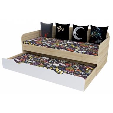 2-х уровневая кровать (дуб сонома+белый)
