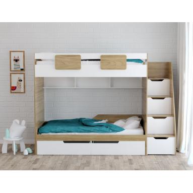 Кровать-чердак Мозаика + односпальная кровать Мозаика (правая/левая)