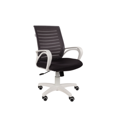 Кресло РК16 белый пластик, спинкаTW черный/сиденье TW черный
