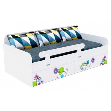 Кровать Цветы-6+бортик