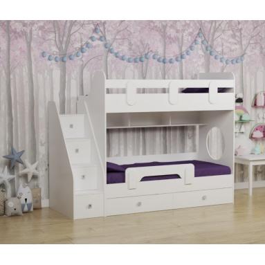 Кровать Юниор-2 (цвет: белый) правая/левая