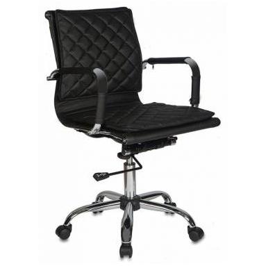Кресло руководителя Бюрократ CH-991-LOW/BLACK низкая спинка сиденье черный Black искусственная кожа крестовина хром