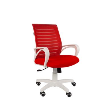 Кресло РК16 белый пластик, спинкаTW красный/сиденье TW красный