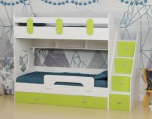 Кровать Юниор-2 (лайм+белый) правая/левая